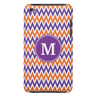 Custom Monogram Purple Orange Chevron Pattern Barely There iPod Cases