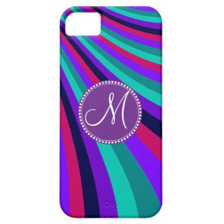 Custom Monogram Purple Pink Aqua Rainbow Stripes iPhone 5 Case