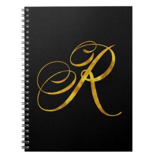 Custom Monogram R Faux Gold Foil Monograms Initial Note Book