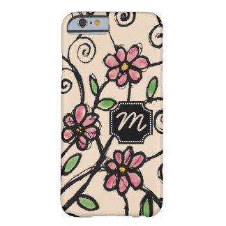 Custom Monogram Rustic Floral Pattern Barely There iPhone 6 Case