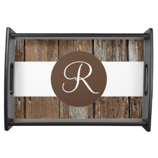 Custom monogram rustic wood serving tray