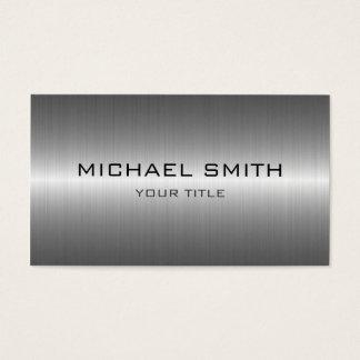 Custom Monogram Silver Stainless Steel Metal Business Card