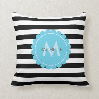 Custom Monogram • Striped • Modern • blue flower Throw Pillow