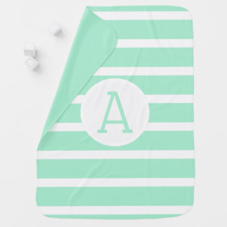 Custom Monogram Striped Solid Color Mint Baby Blanket