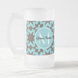 Custom Monogram Stylish Chic Decorative Pattern 16 Oz Frosted Glass Beer Mug