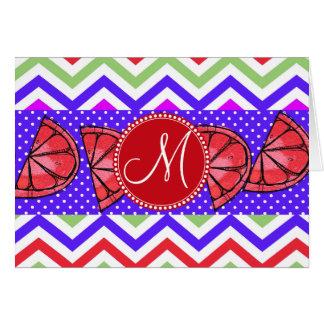 Custom Monogram Summer Chevron Grapefruit Gifts Card