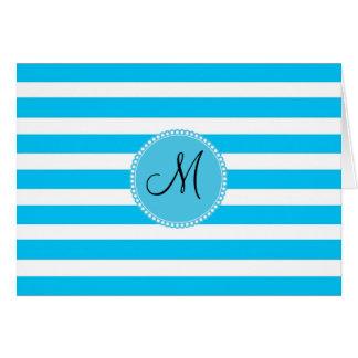 Custom Monogram Teal Blue and White Striped Card