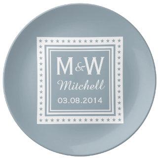 Custom monogram, text & color porcelain plate