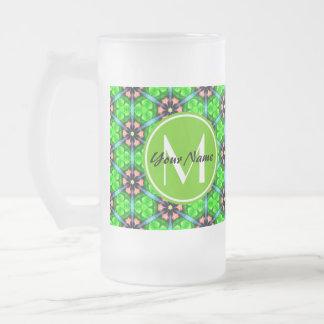 Custom Monogram Trendy Lime Green Floral Pattern 16 Oz Frosted Glass Beer Mug
