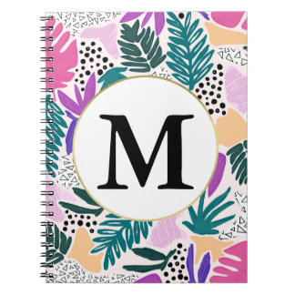 Custom Monogram Tropical Pattern Notebook