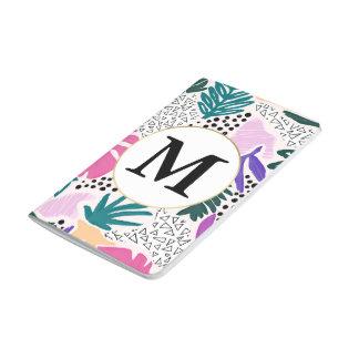Custom Monogram Tropical Pattern Pocket Journal