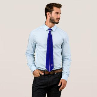 Custom Monogram | Vertical Pink Stripe on Navy Tie
