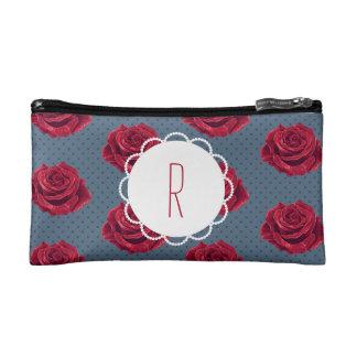 Custom Monogram Vintage Rose Makeup Bag