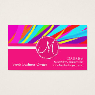 Custom Monogram Vivid Color Paint Brush Strokes Business Card