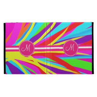 Custom Monogram Vivid Color Paint Brush Strokes iPad Folio Cover