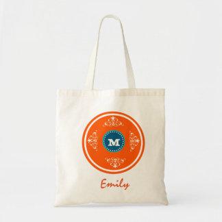 Custom Monogram Wedding Favor Tote Bag-Dark Orange