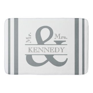Custom Monogram Wedding Grey and White Bath Mat