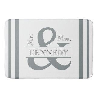 Custom Monogram Wedding Grey and White Bathroom Mat