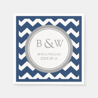 Custom Monogram Wedding Napkin Blue Grey Chevron Paper Napkin