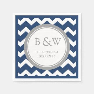 Custom Monogram Wedding Napkin Blue Grey Chevron Paper Napkin