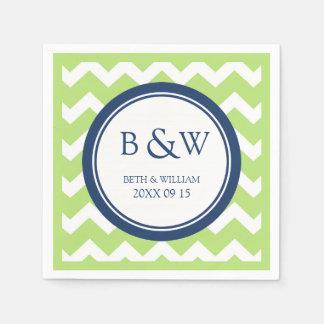 Custom Monogram Wedding Napkin Lime Blue Chevron Paper Napkins