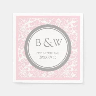 Custom Monogram Wedding Napkin Pink Grey Damask Disposable Napkins
