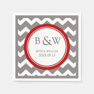 Custom Monogram Wedding Napkin Red Grey Chevron Disposable Napkins