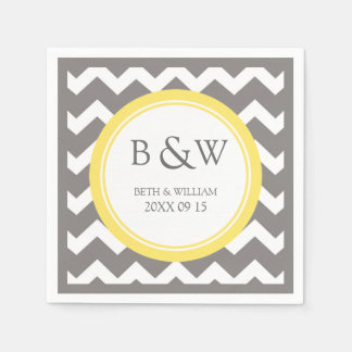 Custom Monogram Wedding Napkin Yellow Grey Chevron Paper Napkin