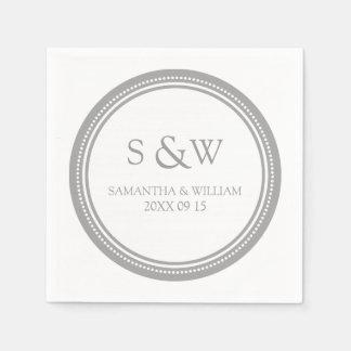 Custom Monogram Wedding Napkins Gray Paper Napkin