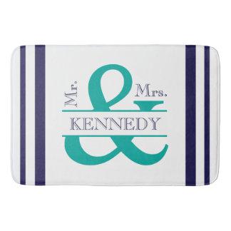 Custom Monogram Wedding Navy Teal Navy Blue Bath Mat
