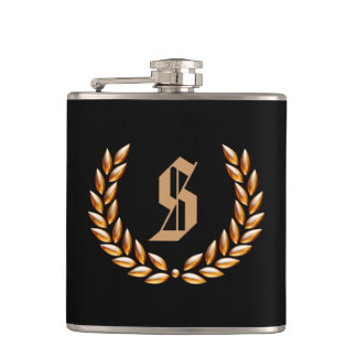 Custom Monogram Wheat Crown Gold on Black Hip Flask
