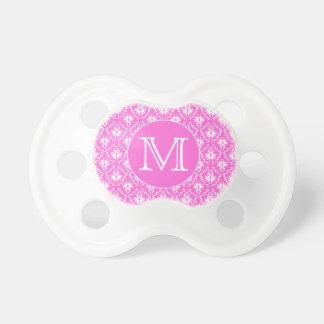 Custom Monogram. White and Pink Damask Pattern. Pacifier