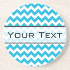 Custom Monogram with Blue Chevron Background Coaster