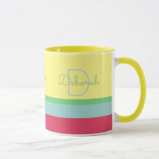 custom monogram with stripes , yellow mug