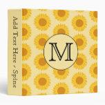 Custom Monogram, with Yellow Sunflowers. Vinyl Binder