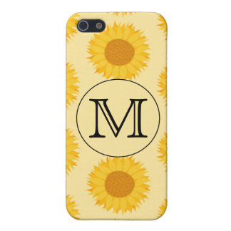 Custom Monogram, with Yellow Sunflowers. Covers For iPhone 5