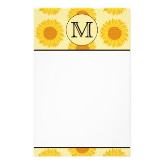 Custom Monogram, with Yellow Sunflowers. Stationery Paper