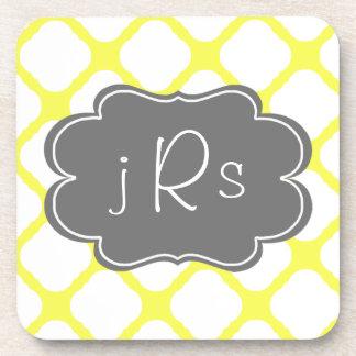 Custom Monogram Yellow and White Art Deco Pattern Coaster