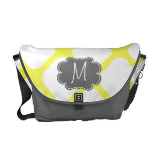 Custom Monogram Yellow and White Art Deco Pattern Courier Bag