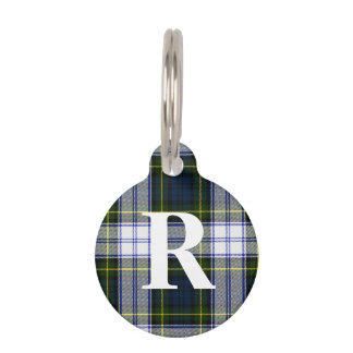 Custom Monogramed Gordon Dress Plaid Dog Tag Pet Nametags