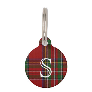 Custom Monogramed Royal Stewart Plaid Dog Tag