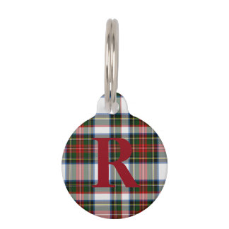 Custom Monogramed Stewart Dress Plaid Dog Tag