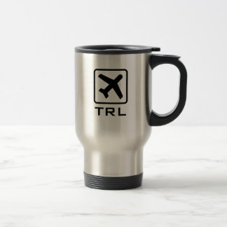 Custom monogrammed airplane symbol travel mug