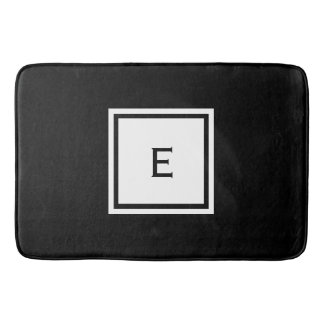 Custom Monogrammed Black and White Bath Mat