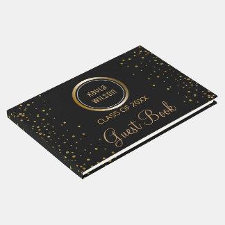 Custom Monogrammed | Black Gold Graduation Party Guest Book
