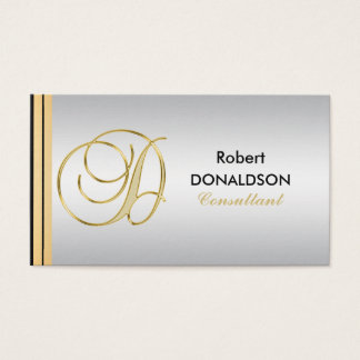 Custom Monogrammed Gold Black Silver Initial 'D' Business Card