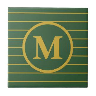 Custom Monogrammed Green and Gold Ceramic Tile
