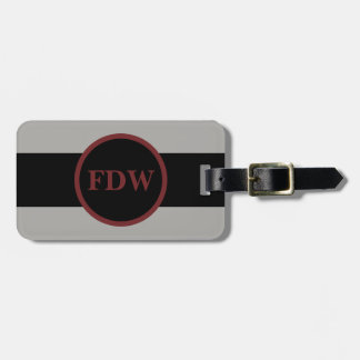 Custom Monogrammed Grey and Black Luggage Tag