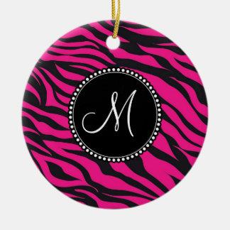 Custom Monogrammed Initial Hot Pink Black Zebra Ceramic Ornament