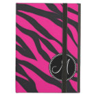 Custom Monogrammed Initial Hot Pink Black Zebra iPad Air Cover